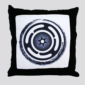 Blue Hecate's Wheel Throw Pillow