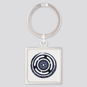 Blue Hecate's Wheel Square Keychain