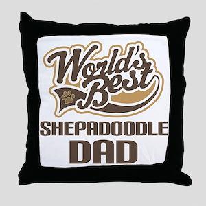 Shepadoodle Dog Dad Throw Pillow
