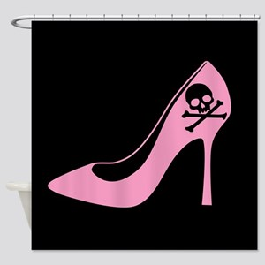 Evil Pink High Heel Shower Curtain