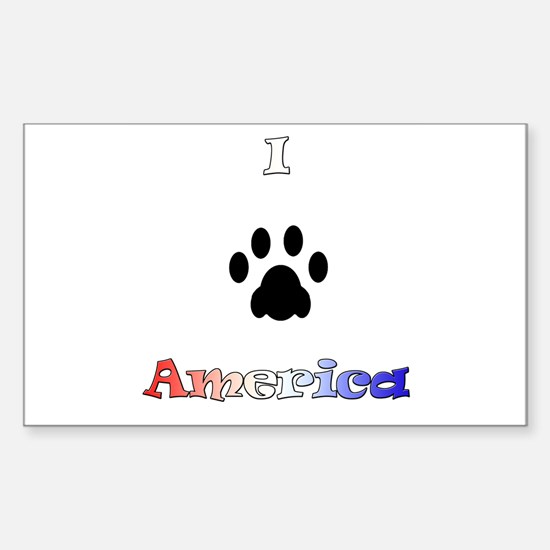 I *paw* America Rectangle Decal