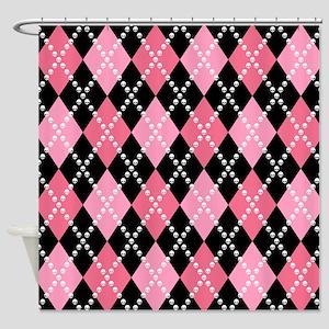 Pink Evil Argyle Shower Curtain