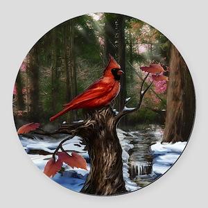 Cardinal Round Car Magnet