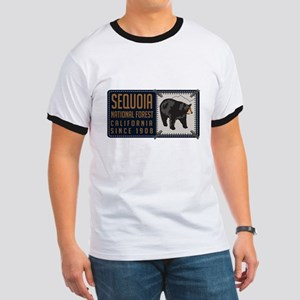 Sequoia Black Bear Badge Ringer T