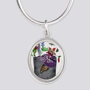 Pocket Wildflowers Silver Oval Necklace