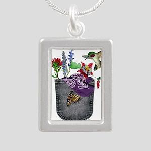 Pocket Wildflowers Silver Portrait Necklace