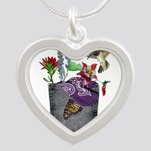 Pocket Wildflowers Silver Heart Necklace