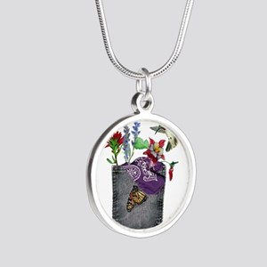 Pocket Wildflowers Silver Round Necklace
