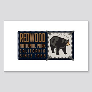 Redwood Black Bear Badge Sticker (Rectangle)