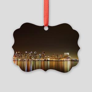 San Diego Skyline Night Picture Ornament