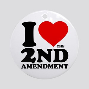 I Heart the 2nd Amendment Round Ornament
