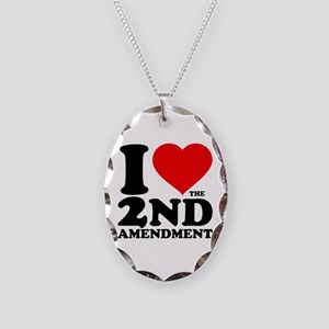 I Heart the 2nd Amendment Necklace Oval Charm