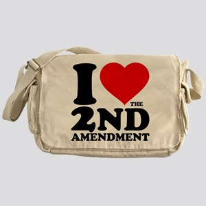 I Heart the 2nd Amendment Canvas Messenger Bag