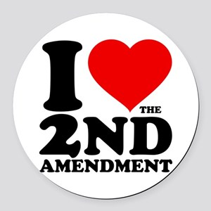 I Heart the 2nd Amendment Round Car Magnet