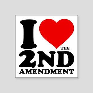 "I Heart the 2nd Amendment Square Sticker 3"" x 3"""