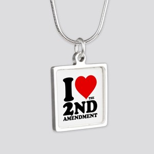 I Heart the 2nd Amendment Silver Square Necklace