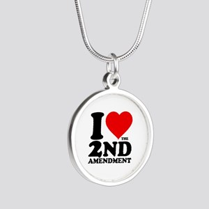 I Heart the 2nd Amendment Silver Round Necklace
