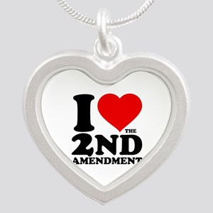 I Heart the 2nd Amendment Silver Heart Necklace