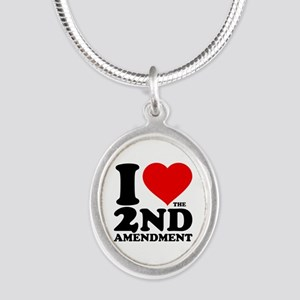 I Heart the 2nd Amendment Silver Oval Necklace