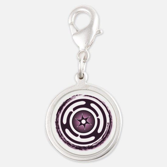Purple Hecate's Wheel Silver Round Charm