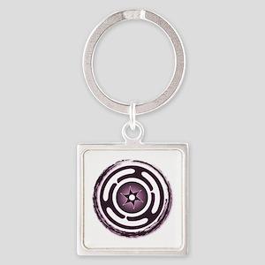 Purple Hecate's Wheel Square Keychain