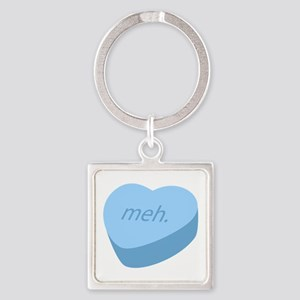 Meh_Heart_BL Square Keychain