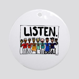 Listen Ornament (Round)