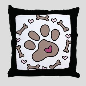 Dog Bone Circle Throw Pillow