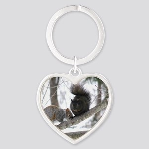 Black & Gray Squirrel Heart Keychain