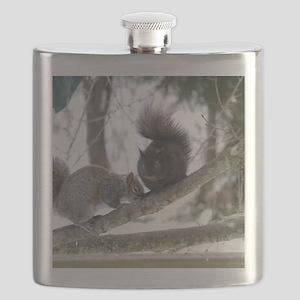 Black & Gray Squirrel Flask