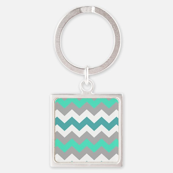 Shades of Blue Chevron Square Keychain
