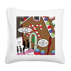 Ant Gingerbread House Square Canvas Pillow
