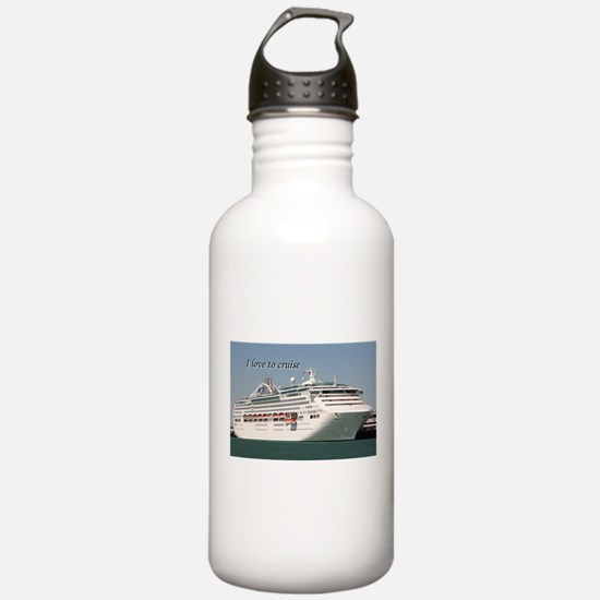I love to cruise: cruise ship Water Bottle