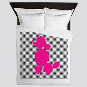 Hot Pink Poodle on Black and White Dots Queen Duve