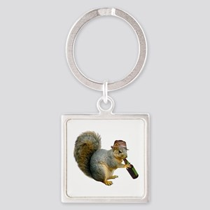 Squirrel Beer Hat Square Keychain
