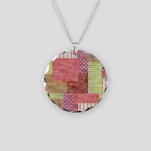 Trendy Patchwork Quilt Necklace Circle Charm