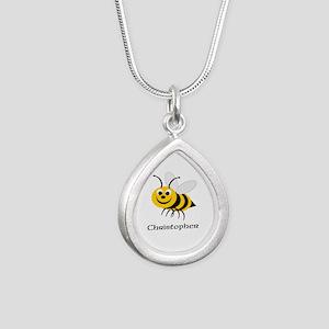 Bee Silver Teardrop Necklace