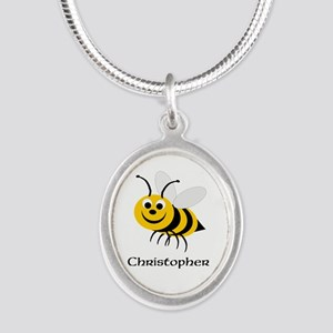 Bee Silver Oval Necklace