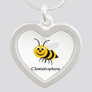 Bee Silver Heart Necklace