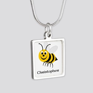 Bee Silver Square Necklace