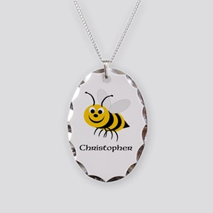 Bee Necklace Oval Charm
