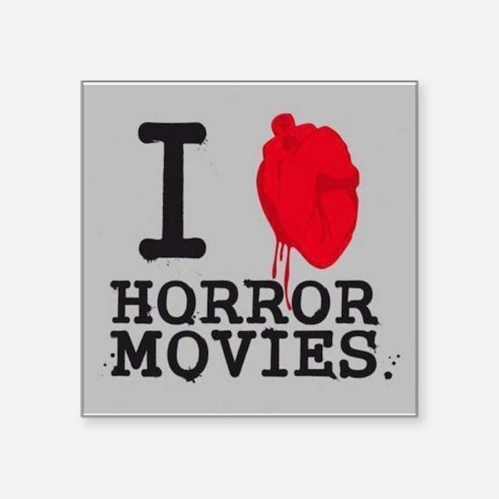 "I <3 Horror Movies Square Sticker 3"" x 3"""