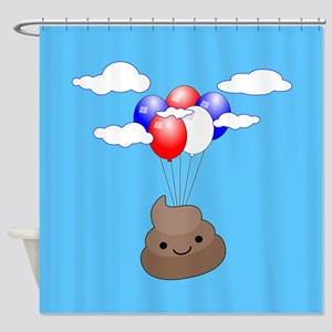 Poo Emoji Flying With Balloons In B Shower Curtain