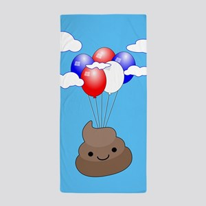 Poo Emoji Flying With Balloons In Blue Beach Towel
