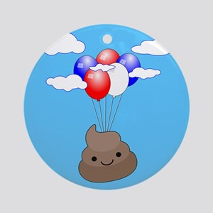 Poo Emoji Flying With Balloons In B Round Ornament