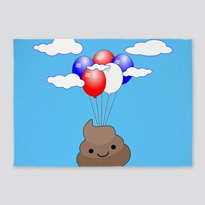 Poo Emoji Flying With Balloons In B 5'x7'Area Rug