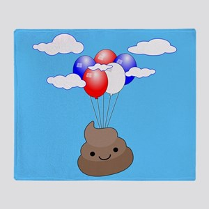 Poo Emoji Flying With Balloons In Bl Throw Blanket