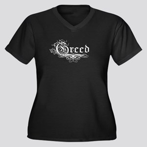 7 Sins Greed Women's Plus Size V-Neck Dark T-Shirt