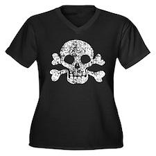 Worn Skull And Crossbones Women's Plus Size V-Neck
