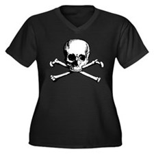 Classic Skull And Crossbones Women's Plus Size V-N